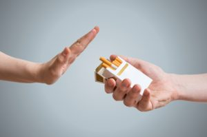 hand up denying cigarette offer