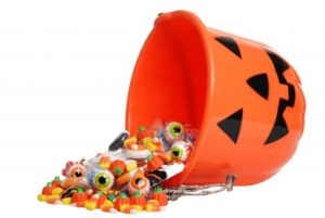 Halloween bucket full of candy.